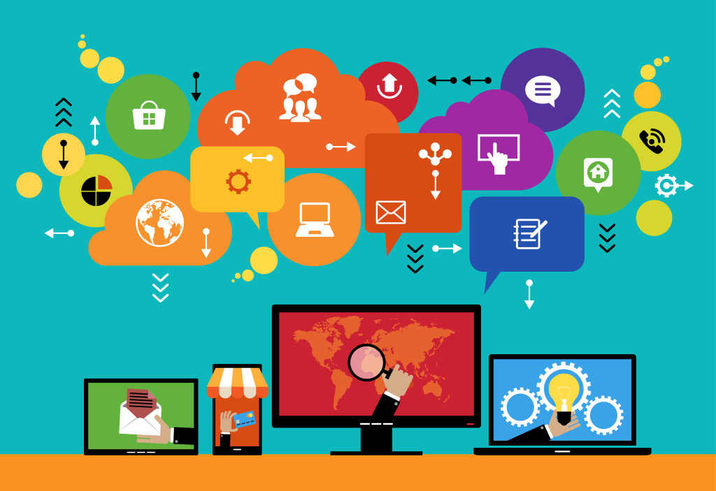 Flat design vector concept network marketing. Smartphone, tablet, laptop, monitor surrounded interface icons, speech bubbles and clouds. File is saved in AI10 EPS version. This illustration contains a transparency